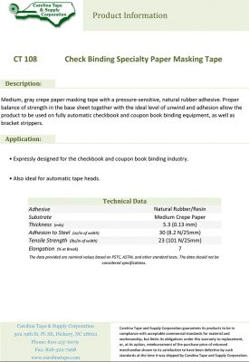108 Check Binding Specialty Paper Masking Tape