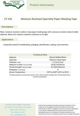135 Moisture Resistant Specialty Paper Masking Tape