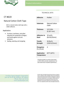 Duct & Insulation Series Natural Cotton Cloth Tape_Scapa 175_619