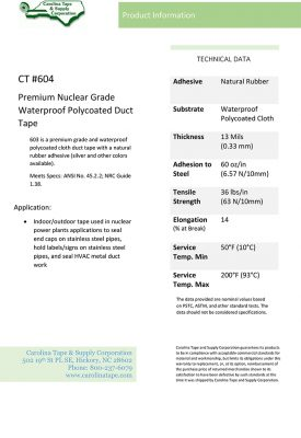 Duct & Insulation Series Premium Nuclear Grade Waterproof Polycoated Cloth Tape PC 624_604