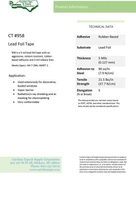 High Tech Industrial Series Lead Foil With Release Liner Tape Hi Cube 184 958