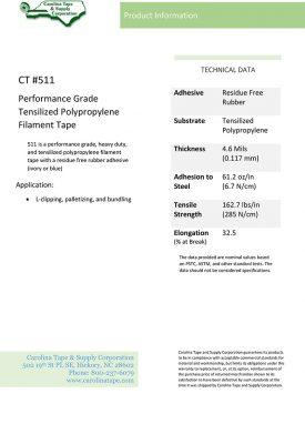 Strapping And Filament Series Performance Grade Heavy Duty Polypropylene Film Tape 5298 511