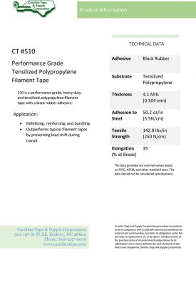 Strapping And Filament Series Performance Grade Heavy Duty Polypropylene Tape 4092 510