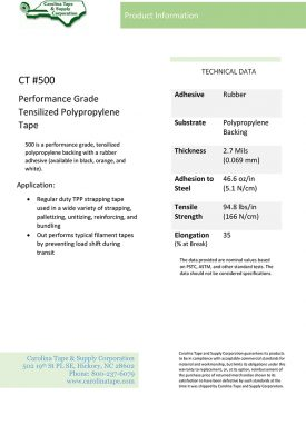 Strapping And Filament Series Performance Grade Polypropylene Tape Tesa 4090 500