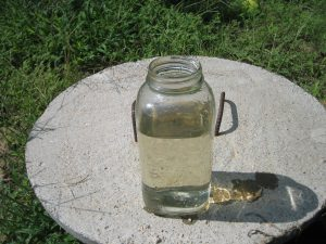 water in jar