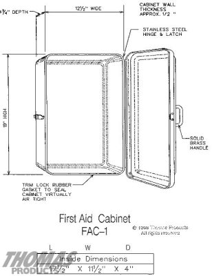 First Aid Cabinets Model FAC-1 drawing