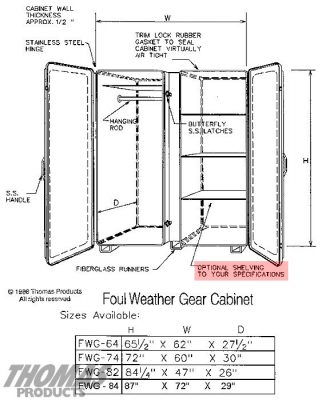 Large Storage Equipment Cabinets Model FWG-64 drawing