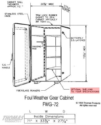 Large Storage Equipment Cabinets Model FWG-72 drawing