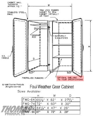 Large Storage Equipment Cabinets Model FWG-84 drawing