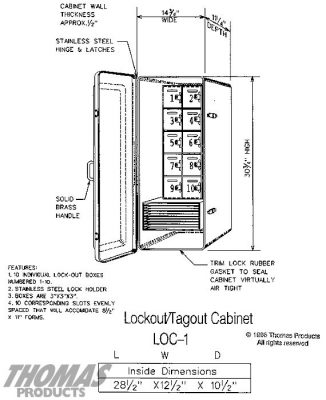 Lockout Tag-out Cabinets Model LOC-1 drawing