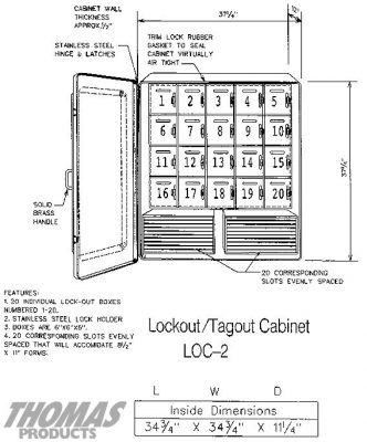 Lockout Tag-out Cabinets Model LOC-2 drawing