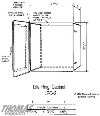 Life Jacket and Life Ring Cabinets Model LRC-2 drawing